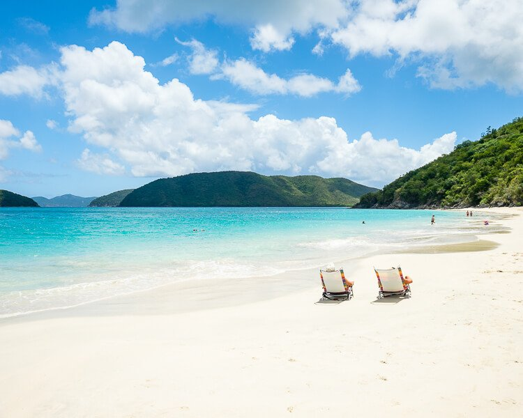 Two beach chairs on Cinnamon Bay in St John, Virgin Islands