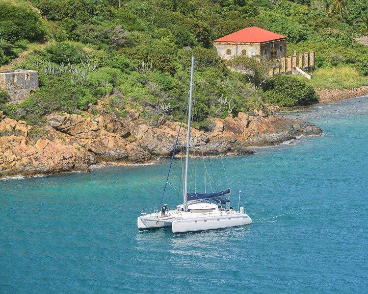 catamaran sailing off the coast of St. Thomas, USVI