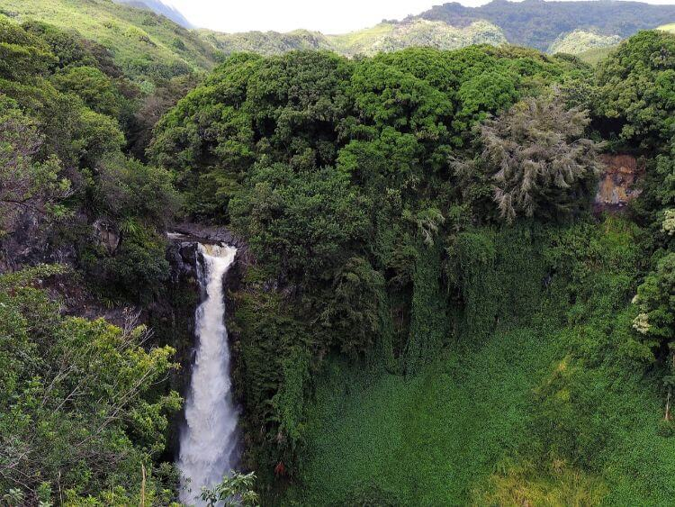 aerial view of waterfall at Twin Falls in Maui
