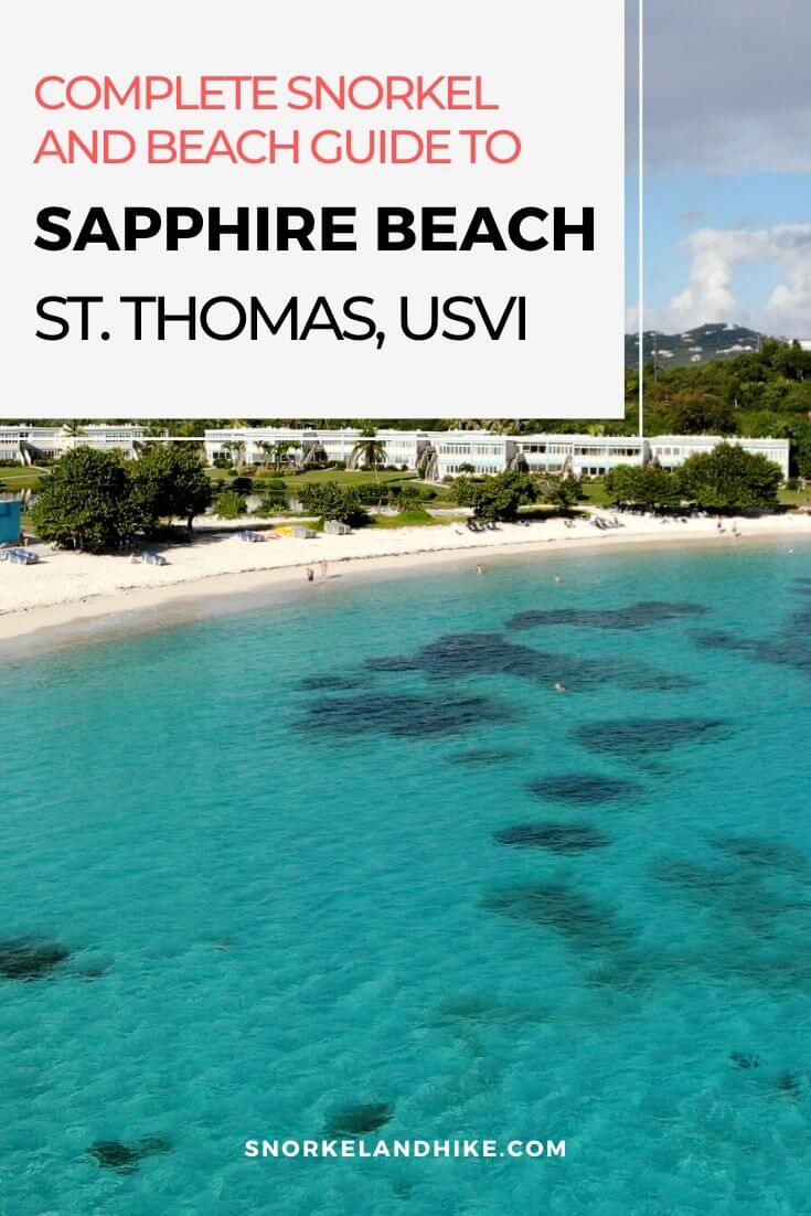 Aerial photo of Sapphire Beach St Thomas with Text Overlay, Complete Beach and Snorkel Guide to Sapphire Beach St. Thomas, USVI
