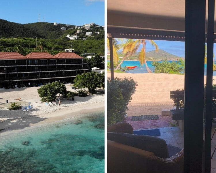 split photo of Sapphire Beach condo from air and photo of beach from condo patio