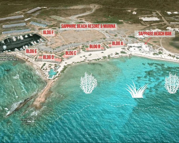 Aerial Sapphire Bay Snorkel Map with Coral and Grass labels