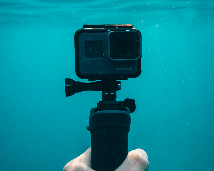 gopro with monopod underwater