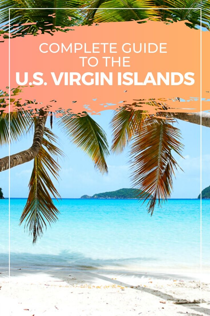 """Maho beach with text overlay """"Complete Guide to the U.S. Virgin Islands"""