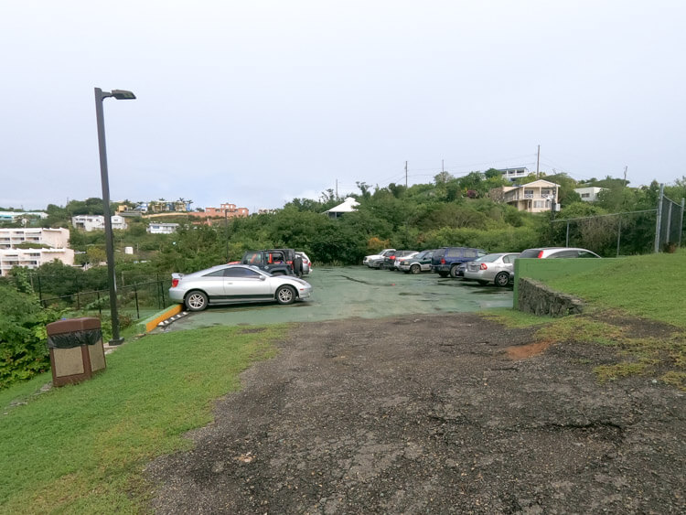 public parking lot at Secret Harbour St. Thomas resort
