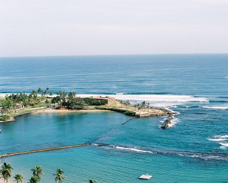 aerial view of Escambron Beach, San Juan, Puerto Rico