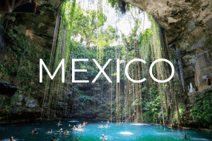 "ik kil cenote with text overlay ""MEXICO"""