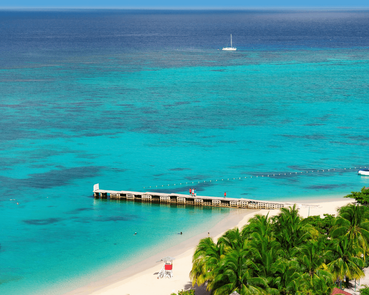 aerial view of Doctor's Cave Beach, Pier, and snorkeling area in Montego Bay, Jamaica