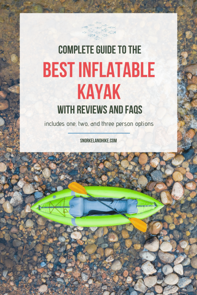 aerial view of inflatable kayak in river with text overlay