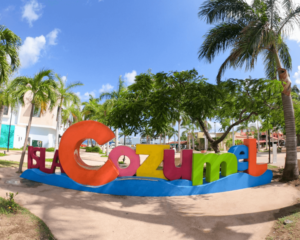 cozumel sign in downtown cozumel