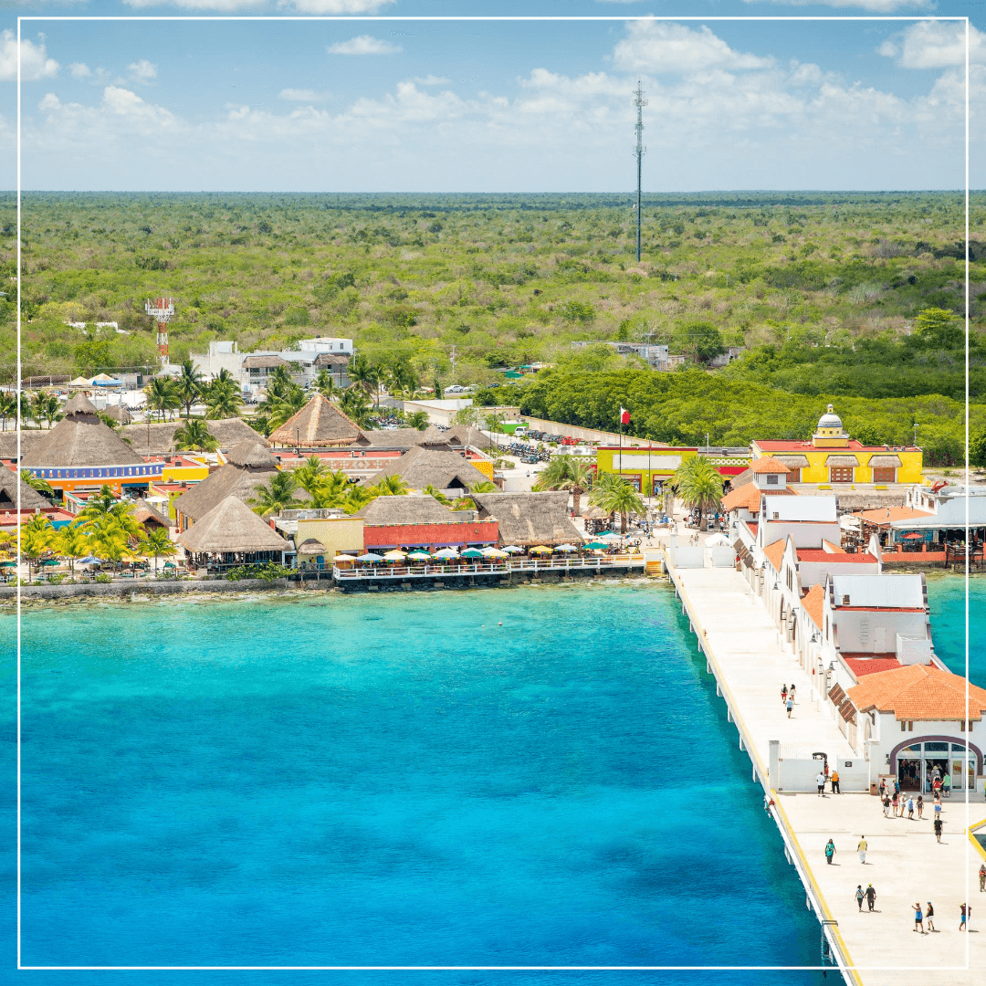 aerial view of downtown cozumel