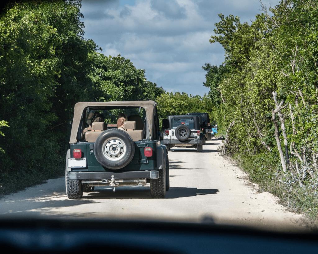jeeps driving through jungle on Cozumel tour
