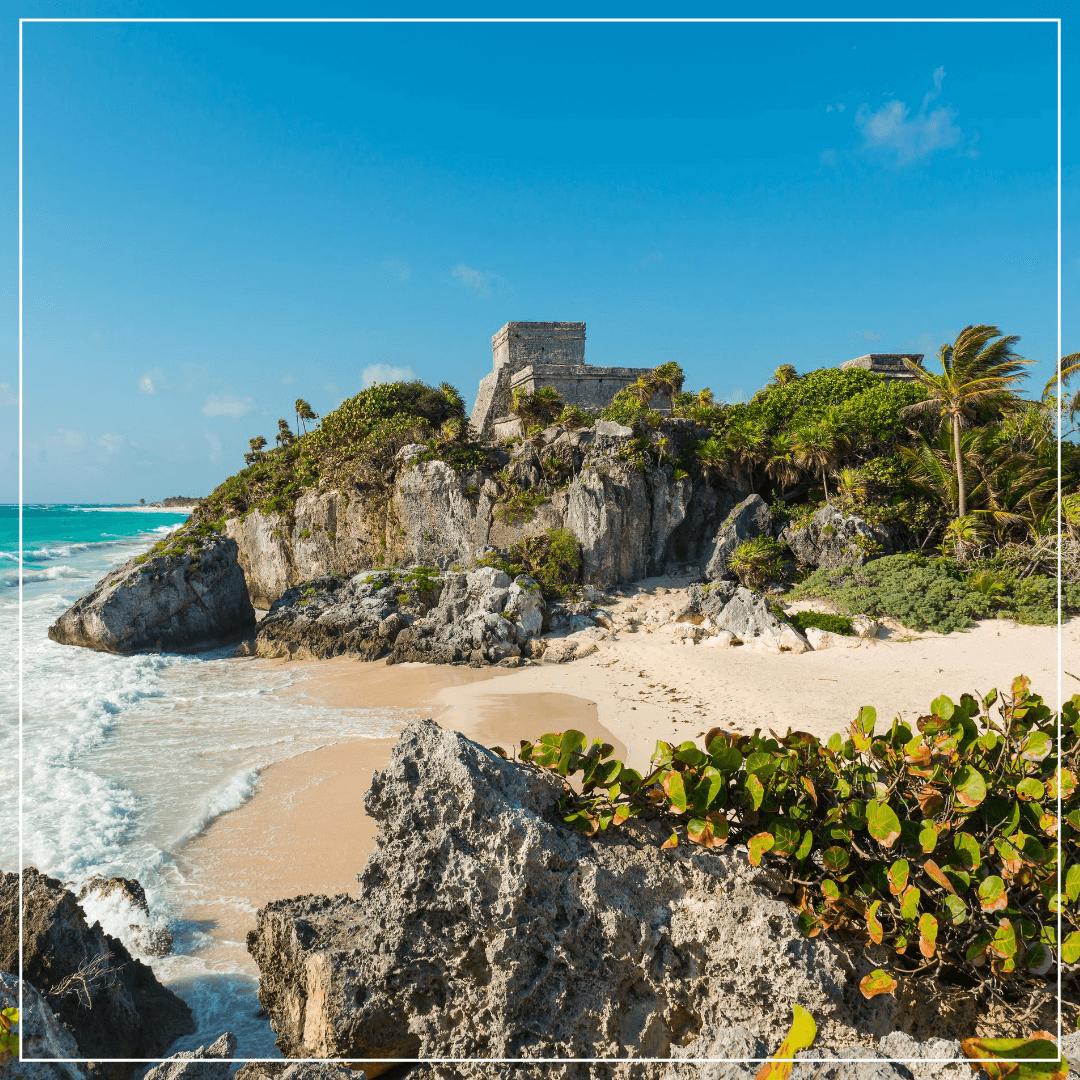 Mayan ruins along beach in tulum