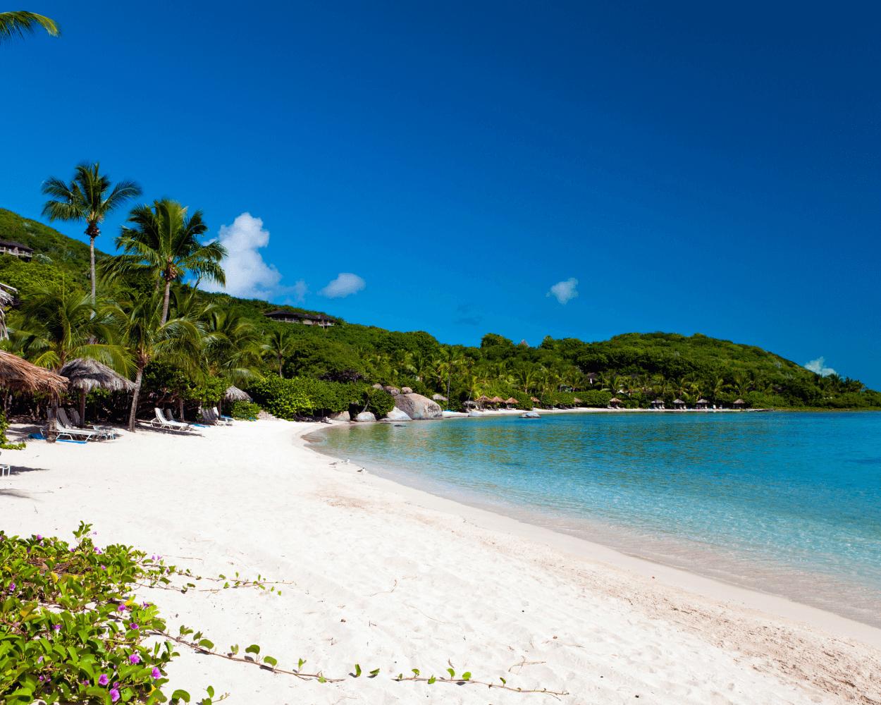 Beach on Virgin Gorda in front of Little Dix Bay Resort