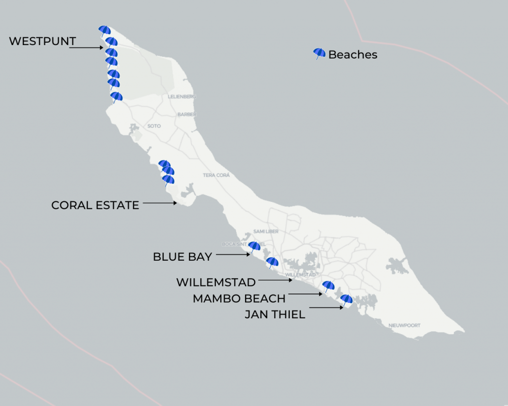 Areas of Curacao Map with Beaches