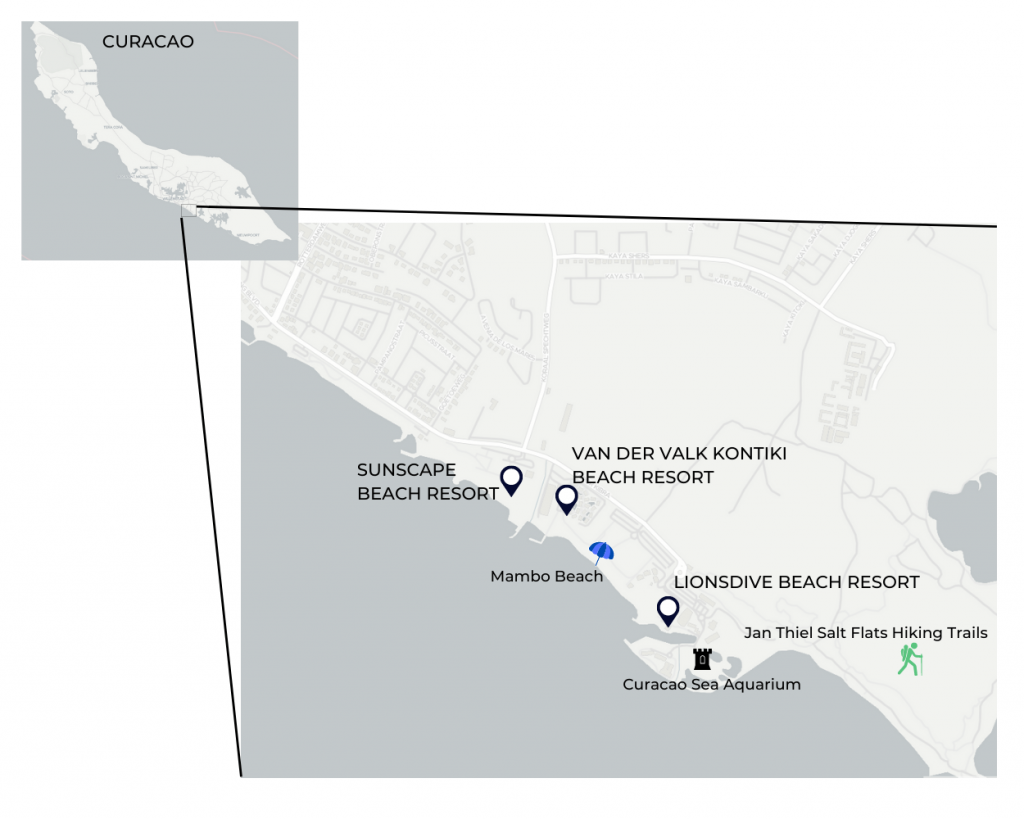 Map of resorts, apartments, and attractions in Mambo Beach Curacao