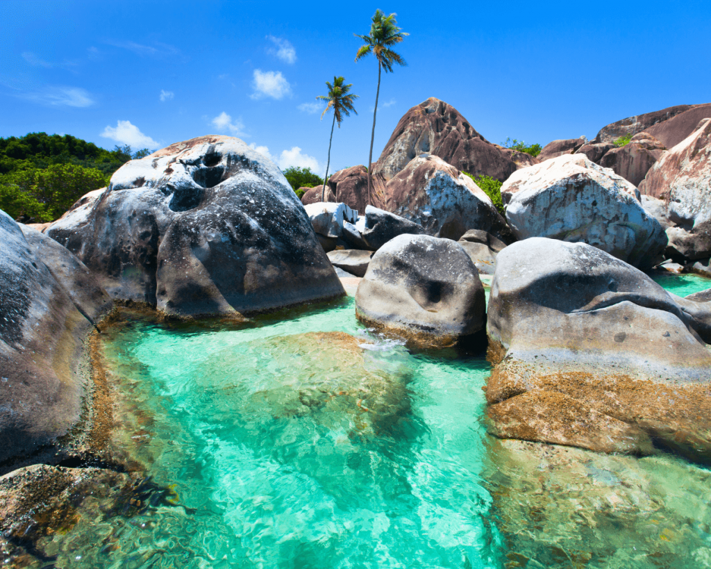 boulders at The Baths in the British Virgin Islands