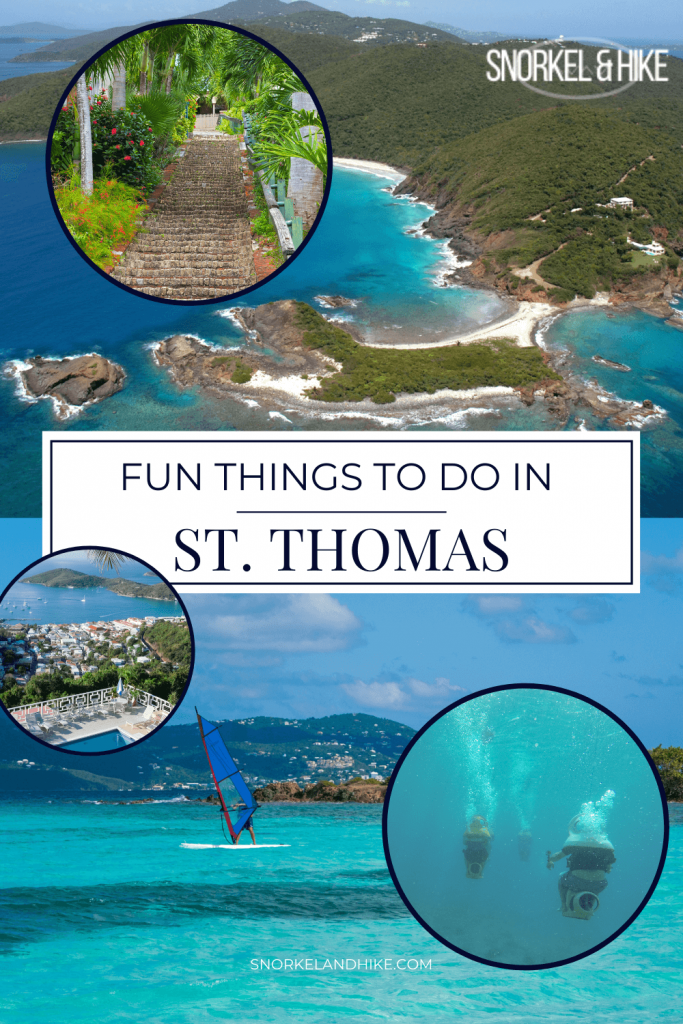 Fun Things to do in St. Thomas USVI Pin, Text overlay with photos of various activities in St. Thomas