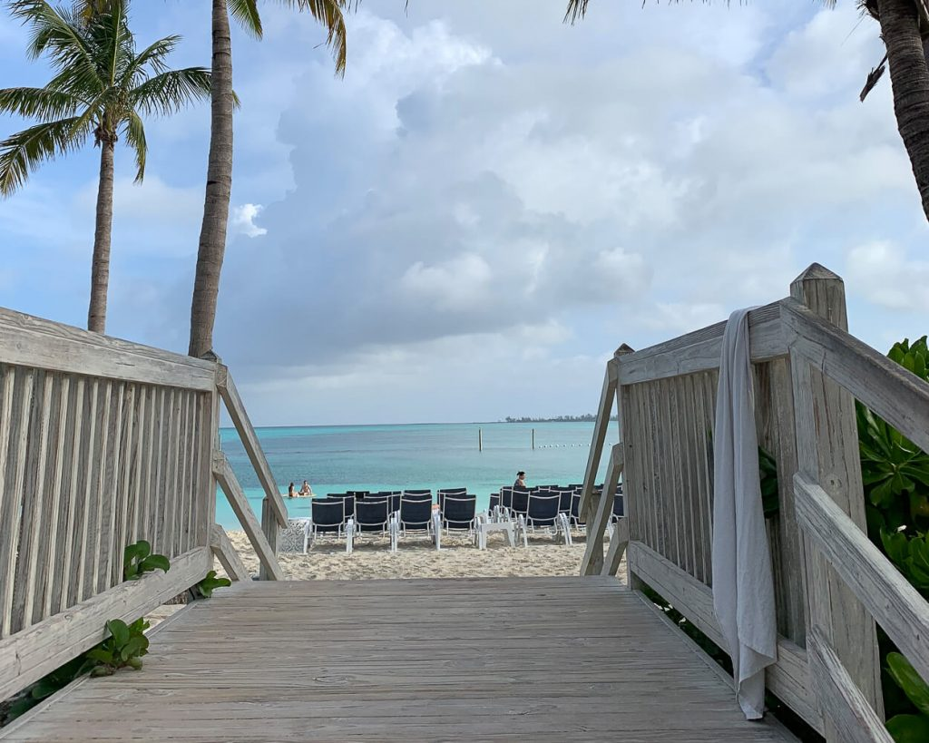 view from walkway along Cable Beach, Bahamas