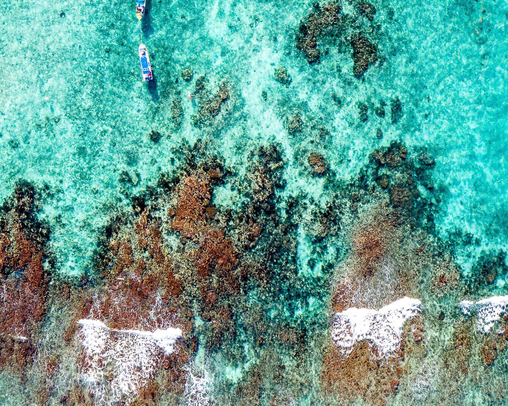 Aerial View of Coral Reef off the Coast of Tulum, Mexico