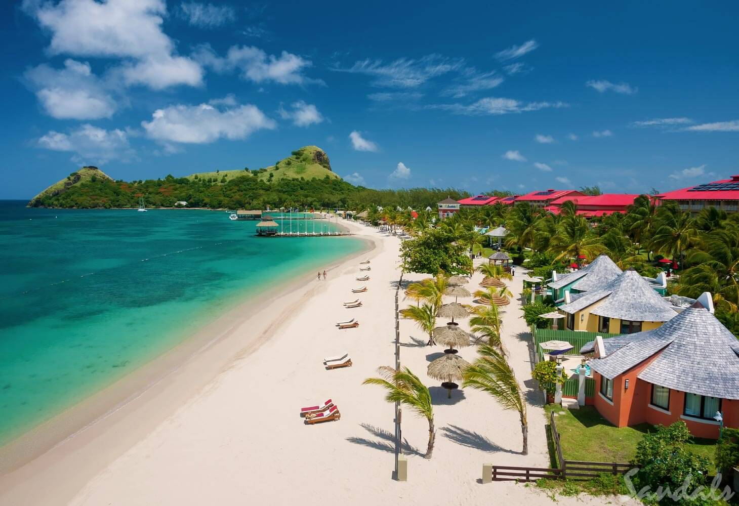 Aerial view of the beach at Sandals Grande St. Lucian Resort