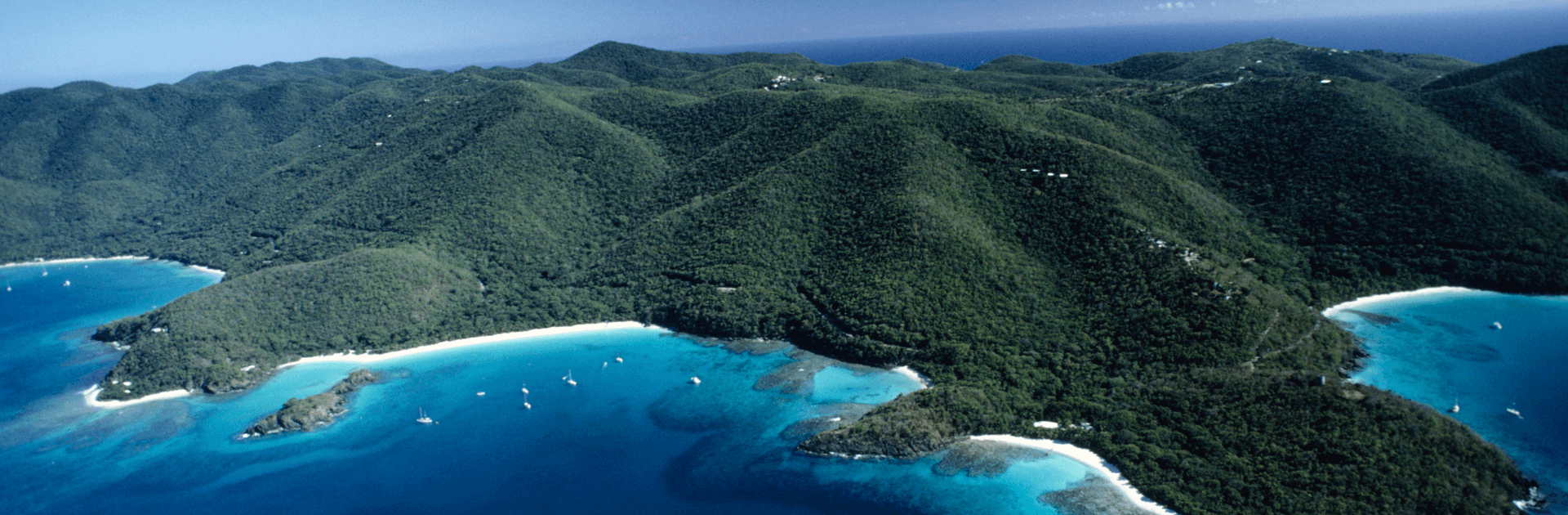 Aerial View of St. John in the US Virgin Islands